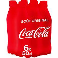 COCA-COLA Boisson gazeuse aux extraits végétaux original bouteilles 6x50cl