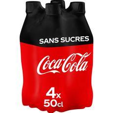 COCA-COLA Boisson gazeuse aux extraits végétaux zéro bouteilles 4x50cl