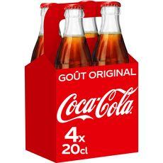 Coca cola Boisson gazeuse aux extraits végétaux goût original verre 4x20cl