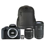 CANON Appareil photo Reflex EOS 2000D Noir +18-55 IS+55-250 IS+Sac+SD 16Go