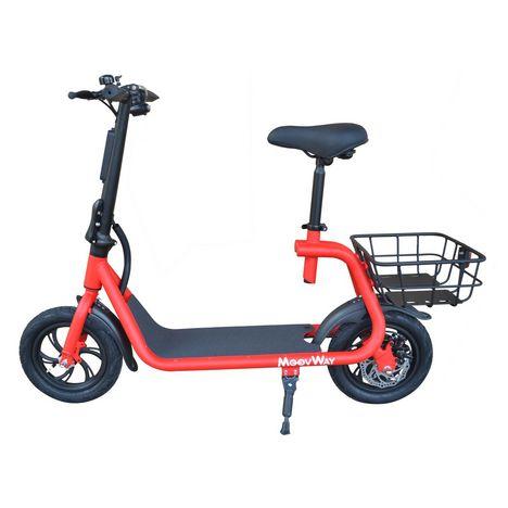 MOOVWAY Scooter électrique Pliable avec selle E-Scooter City Moov Rouge