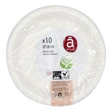 ACTUEL Actuel Assiettes à dessert 18cm compostables blanches x10 10 pièces
