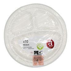 ACTUEL Actuel Assiettes en carton blanc à compartiments 30cm x10 10 pièces