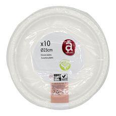 ACTUEL Actuel Assiettes en carton blanc 23cm compostables x10 10 pièces