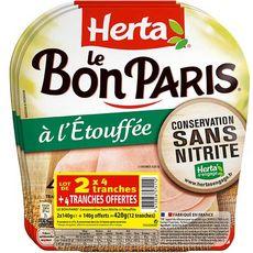 HERTA Le Bon Paris jambon cuit à l'étouffé sans nitrites 3x4 tranches 420g