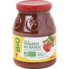 AUCHAN BIO Chair de tomates au basilic, en bocal 400g