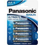 PANASONIC Lot de 4 Piles AA Alcaline LR6 Evolta