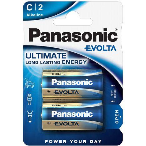 PANASONIC Lot de 2 Piles C Alcaline LR14 Evolta