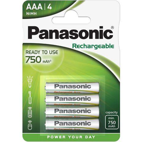PANASONIC Lot de 4 Piles Rechargeables AAA NiMh 750 mAh