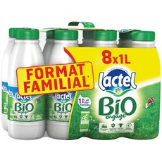 LACTEL Lait écrémé bio 8x1l
