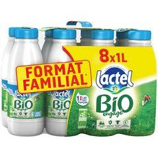 LACTEL Lait demi-écrémé bio stérilisé UHT 8x1l