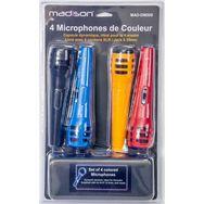 LOTRONIC Lot de 4 microphones noir, rouge, bleu et jaune MAD-DM500