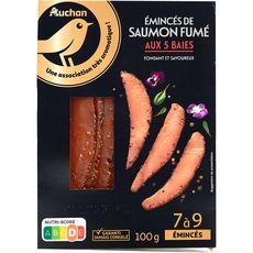 AUCHAN GOURMET Émincés de saumon fumé aux 5 baies 7 à 9 pièces 100g