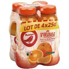 AUCHAN Jus d'orange à base de concentré sans sucres ajoutés  4x25cl