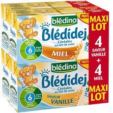 Blédidej vanille et miel 8x25cl dès 6 mois prix choc