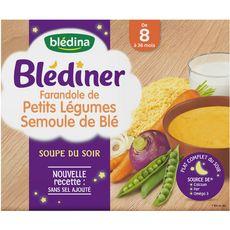 BLEDINA Blédiner farandole de petits légumes semoule 2x250ml 8mois