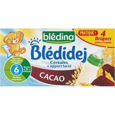 BLEDINA Blédidej céréales lactées au cacao dès 6 mois 4x25cl
