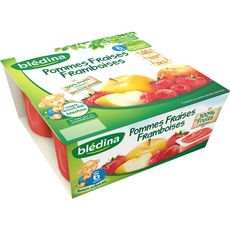 BLEDINA Blédina coupelle fruits pomme fraise framb 4x100g dès6mois
