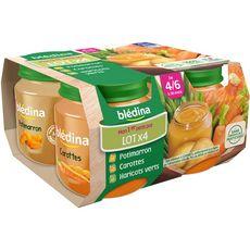 BLEDINA Blédina pot 2 carottes 1 haricot 1 potiron 4x130g dès4/6mois