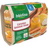 Blédina pot carottes semoule dinde 2x200g dès 6 mois