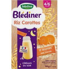 BLEDINA Blédina Blédiner dossettes céréales riz carotte en poudre dès 4 mois 12x12g 12x12g