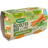 Blédina récoltes bio carottes petits pois 2x130g dès 6m