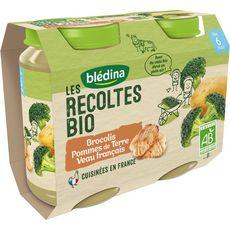 Blédina Petit pot brocolis pommes de terre et veau bio dès 6 mois 2x200g