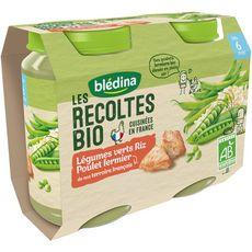 Blédina Petit pot légumes verts riz et poulet fermier bio dès 6 mois 2x200g