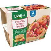 Blédina Blédina Petit pot dessert pommes pêches et fraises dès 6 mois 4x100g