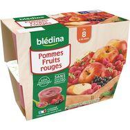Blédina Blédina Petit pot dessert pommes et fruits rouges dès 8 mois 4x100g