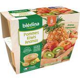 Blédina coupelle de pomme kiwis ananas 4x100g dès 8 mois