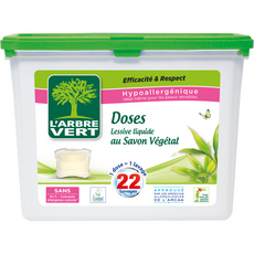 L'ARBRE VERT Lessive capsules écologiques au savon végétal 22 lavages 22 capsules