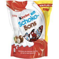 KINDER Schokobons Bonbons chocolatés fourrés lait et noisettes 330g