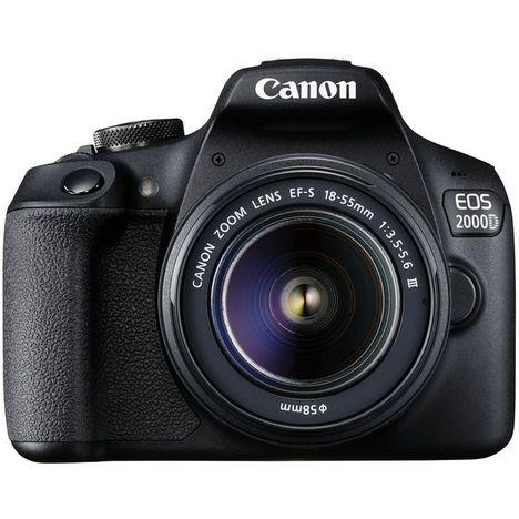 CANON Appareil photo Reflex EOS 2000D + Objectif 18-55DC Noir
