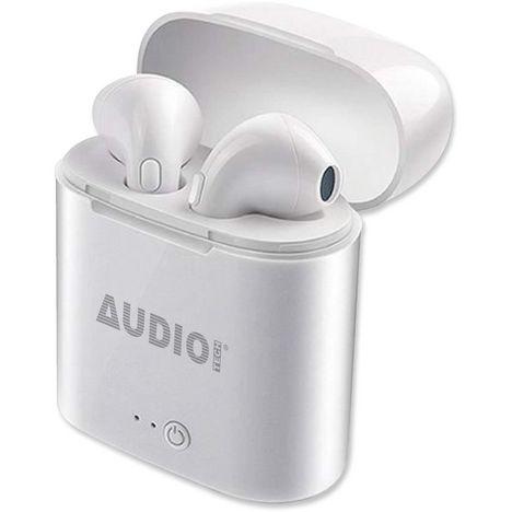 AUDIO TECH Écouteurs sans fil Bluetooth avec boîtier de charge - Blanc