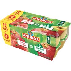 ANDROS Spécialité pomme nature et pomme fraise 16x100g