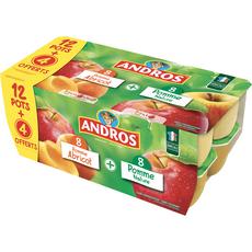 ANDROS Spécialité pomme Nature et pomme abricot 16x100g
