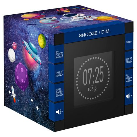 BIGBEN Radio-réveil avec projection de l'heure - Bleu - RR70PGALAXY