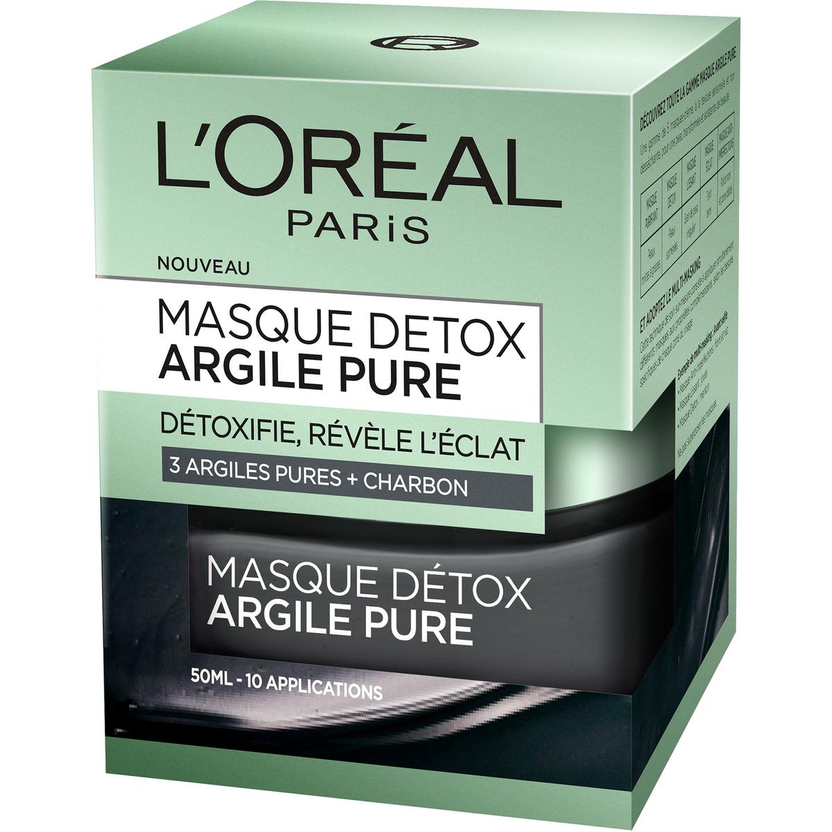 L'Oréal Masque détox aux 3 argiles pures + charbon 50ml