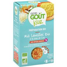 GOOD GOUT KIDZ Riz et lentilles bio à la noix de coco aux épices douces 2 sachets 240g