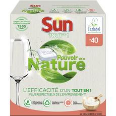 SUN Tablettes lave-vaisselle écologique au bicarbonate de soude 40 lavages 40 tablettes