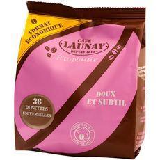 CAFE LAUNAY Café doux et subtil en dosette universelle 36 dosettes x36