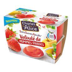 Charles et Alice velouté pomme fraise 4x97g
