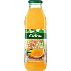 Cidou Pur jus d'orange valencia sans pulpe bouteille verre 1l