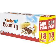KINDER Country Barres chocolatées céréales soufflées 18 barres 420g