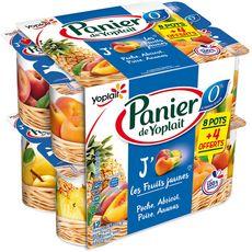 PANIER DE YOPLAIT Yaourt 0% aux fruits jaunes 12x130g