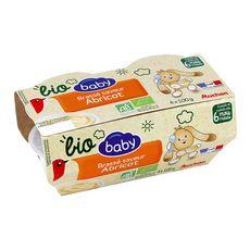 AUCHAN BABY BIO Pot dessert lacté brassé à l'abricot dès 6 mois 4x100g
