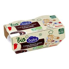 AUCHAN BABY BIO Pot dessert à la crème chocolat dès 6 mois 4x100g