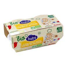 AUCHAN BABY BIO Pot dessert lacté brassé à la vanille dès 6 mois 4x100g