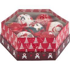 Actuel Boîte boules en papier décorées rouge x7